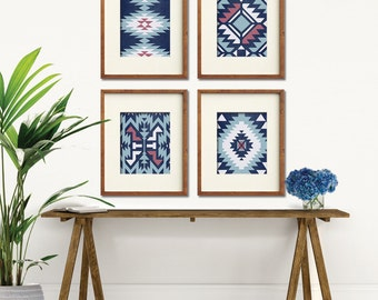 Navajo Indian inspired Geometric Patterns (Series C4) Set of 4 Art Prints (Featured in Distressed China Blue Silk, Pale Blue and Raspberry)