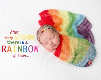 Rainbow baby gift. Limited time Sale!  You choose either Wrap, Headband, or complete set. Ready to ship. Mohair rainbow baby blanket
