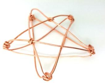 Copper Star Mini Tree Topper -  metal star handmade tree topper - small / mini- copper basket style 3-d Star - sample SALE - 1212J