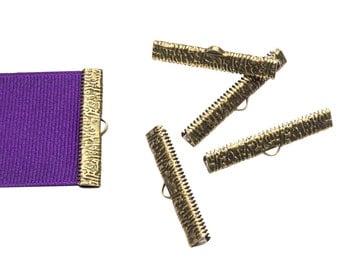 16pcs.  38mm ( 1 1/2 inch ) Antique Bronze Ribbon Clamp End Crimps - Artisan Series