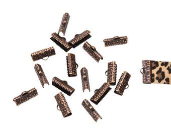 150pcs.  20mm (3/4 inch)  Antique Copper Ribbon Clamp End Crimps - Artisan Series