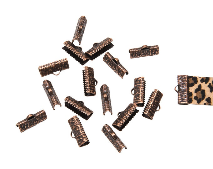 150 pieces  20mm (3/4 inch)  Antique Copper Ribbon Clamp End Crimps - Artisan Series
