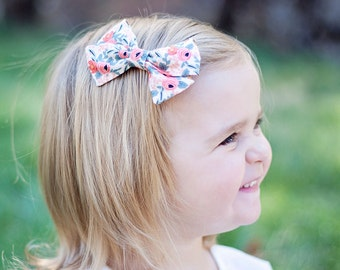 Hair Bow, Bow Headband, Headband, Headbands, Fabric Hair Bow, Hair Clip, Baby Bow, Bow, Alligator Clip, Rifle Paper Co - Rosa In Peach