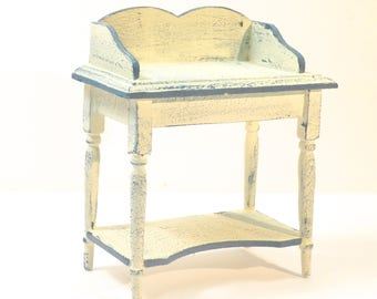 Shabby Chic PAINTED WASHSTAND table cream blue  dolls house furniture bedroom 12th scale miniature