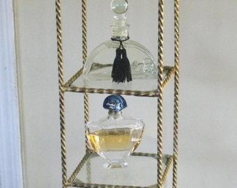 Twisted Metal Display Shelf with Glass Shelves, Vanity Perfume Display Three Tier Shelving
