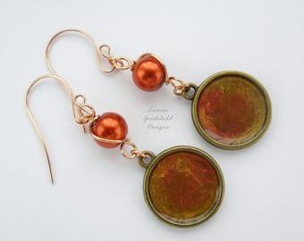 Burning Embers earrings, russet pearl earrings, hand painted, bronze earrings, pearl earrings, flame coloured earrings, burnt orange, flames