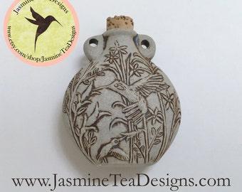 Natural Hummingbird Vessel Pendant, Peru Ceramic Raku Hummingbird Bottle 49mm