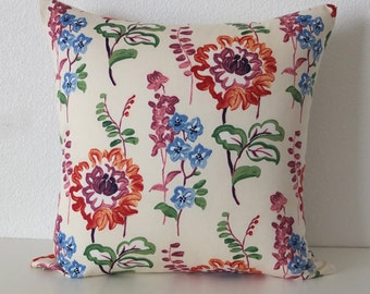 Pillow Cover - Floral - Maven Multi floral - Cream - Orange - Blue - Cushion Cover