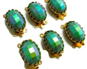 Ornate Gold Clasp 2 Strand Green AB Vintage Glass Cabochon in Gold Crown Setting C-4