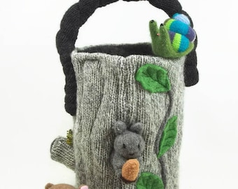 Log home toy bag, bag only, waldorf toy, toy bag, hollow log toy bag, Easter bag, Easter basket, handmade child's toy