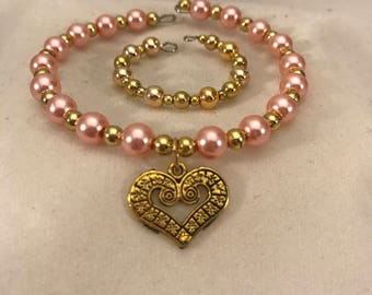 American Girl Sized Choker Necklace and Bracelet with Pink pearls  Gold beads and a Gold Charm