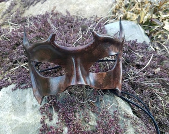 Brown Horned Leather Masquerade Mask