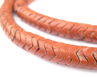 150 Brick Brown Glass Snake Beads - Interlocking Beads - Brown Snake Beads - Czech Snake Beads - Fair Trade Beads (SKE-UNU-BRN-244)
