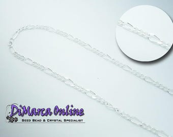 Figaro Chain 6.5x2.5 mm Silver Plated - 1 meter