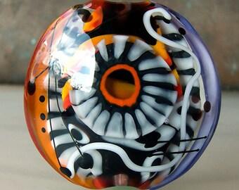 Hiding Zebra - 3 dimensional 2 side lampwork bead - Modern Glass Art by Michou P. Anderson (Brand/ Label Sonic & Yoko)