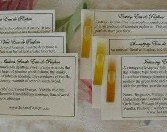 Perfume Oil - Natural Perfume Oil - Samples - Choose 3, JoAnneBassett perfume, organic perfume oil