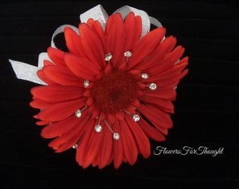 Gerber Daisy Corsage, Red Wedding Prom Flower with Rhinestones, Wrist or Lapel Pin