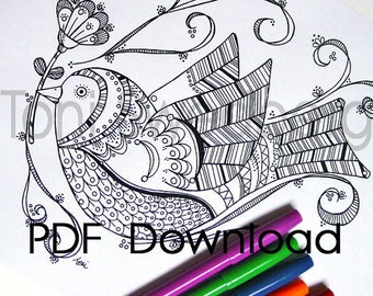 Bird Coloring Page - PDF Download - Folk Bird - Hand Drawn Image To Color