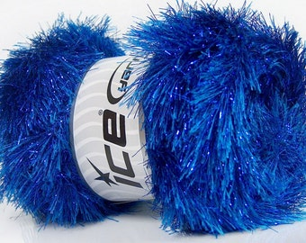 ICE YARNS eyelash dazzle blue metallic lurex 1 skein 100gr polyester fancy bulky shimmering knitting crochhet supplies 42262