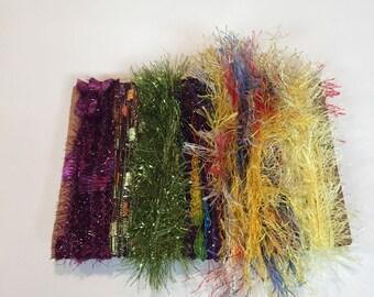 ice yarns SAMPLES fiber art bundle cards eyelash glitz lurex angelo purple mini ladder colorful yelow  scrapbooking knitting crochet supply