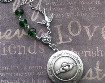Claddagh Locket Necklace, Silver Locket, Locket Jewelry, Photo Locket, Irish Wedding Locket, Gift For Her, Green Crystals, Rosary Style GIFT