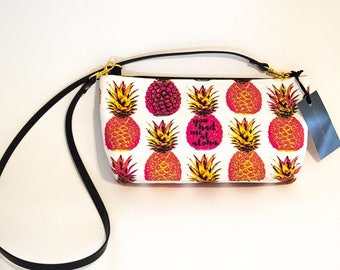 Aloha Clutch with Genuine Leather Shoulder Strap