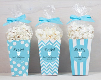 12 Custom Popcorn Box Favors - Baby Boy Favors - Personalized Favors - It's a Boy - Blue Popcorn Boxes - Stripes - Dots - Chevrons