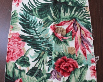 """Barkcloth Fabric Piece 16"""" x 51"""" unused Flowers Pink Green Mid Century VINTAGE by Plantdreaming"""