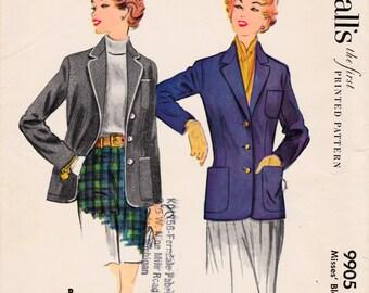 9905 McCalls Blazer size 14 Vintage 1954