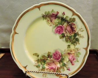 Vintage Shabby Chic Yellow Plate With Cabbage Roses in Pink