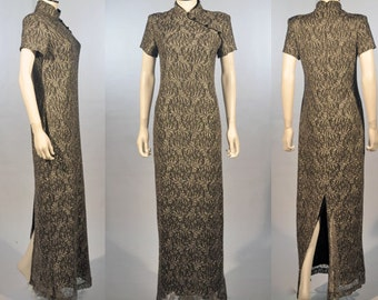 Vtg 1990's SILVER MESH High Neck Chinese Cheongsam Maxi Dress Sm Med