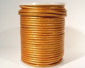 2mm Round Indian Leather - Old Gold Metallic - L2-231 - Choose Your Length