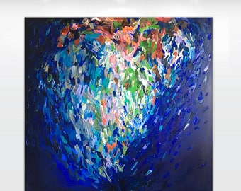 "LARGE Original abstract painting on canvas 'Indigo heart', 40x40"" ready to hang gallery fine art, blue, pink, green, silver leaf - OOAK"