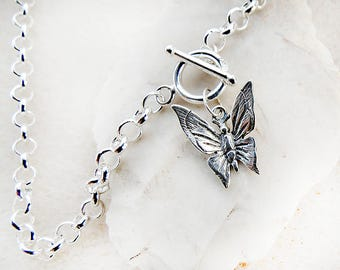 Silver Butterfly Pendant Necklace, Sterling Silver Butterfly Charm and Front Closure Toggle Clasp on Sturdy Rolo Chain, Handmade Jewelry