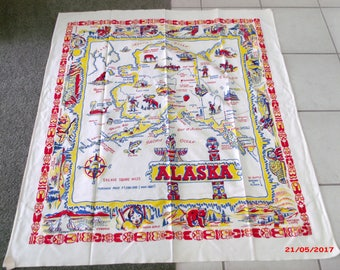 SALE Vintage 50s Alaska State Tablecloth Souvenir Tablecloth 48 x 46