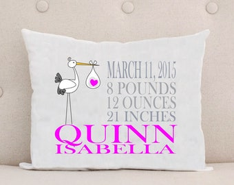 Unique Baby Gift, Birth Announcement, Personalized Baby Pillow, Pink Girl Stork