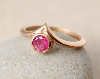 Rose Gold Cranberry Pink Tourmaline Ring - Point Ring - Choose Your Setting