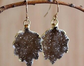 50 OFF SALE Gold Espresso Brown Leaf Shape Dangle Earrings - Fall Inspired