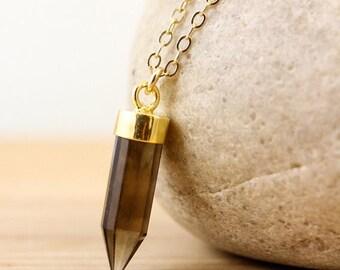 CHRISTMAS SALE Smokey Quartz Point Necklace - Point Jewelry - 14K Gf Chain