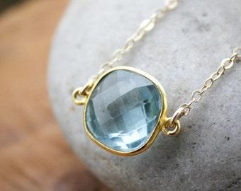 CHRISTMAS SALE Gold Teal Quartz Bezel Gemstone Necklace - 14KT Gold Fill