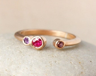CHRISTMAS SALE Birthstone Tension Ring - Choose Your Birthstones - Gold, Silver, Rose Gold