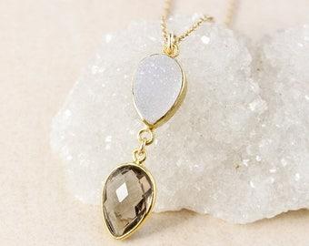 50% OFF Smokey Quartz and White Druzy Necklace – 14K Gold Filled