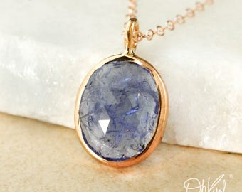 Rose Gold Blue Iolite Necklace - Free Form Blue Iolite Pendant - Choose Your Setting