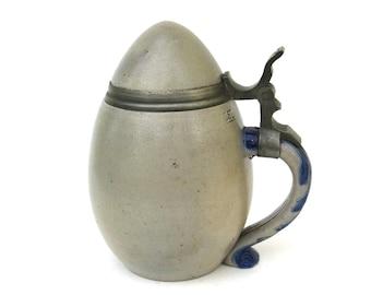 rare stoneware stein  ...  Reinhold Hanke  ...  stoneware egg  ...   german salt fired   ...  .5L