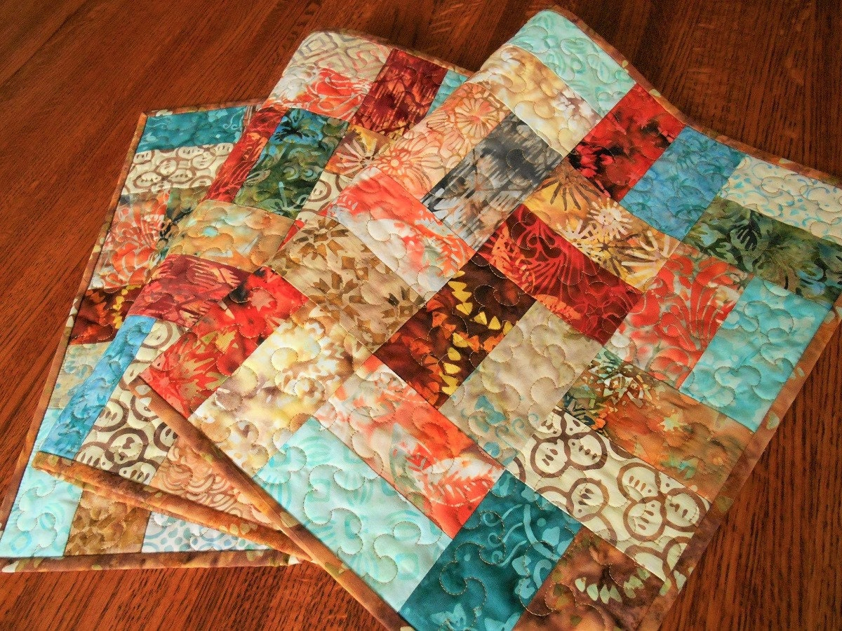 Quilted Batik Table Runner with Aqua Teal Red Orange and Gold