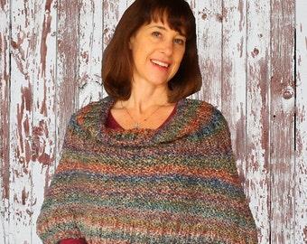 Knit Poncho Pattern, Easy Knitting Pattern for Homespun Yarn, Pattern for Knit Hood, Knitted Wrap Patterns, Knit Cape Pattern