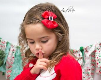 Santa Pinwheel Bow, Girls Red Hair Bow, Christmas Hair Bow,  Holiday Hair Bow, Girls Hair Accessories, Girls Christmas Hair Bow