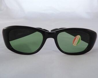 vintage black sunglasses 50s 60s mod glasses Italy retro eyewear new old stock
