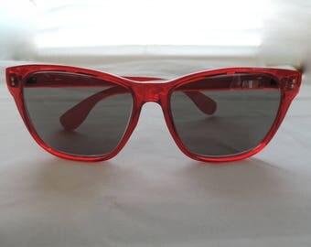 vintage red sunglasses 80s foster grant wayfarer style shades retro eyewear new old stock