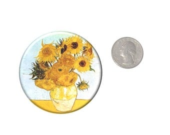 Van Gogh Sunflowers Refrigerator Magnet  2 1/4 inches in diameter  Fridge Magnet